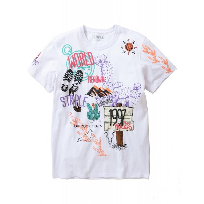 Staple Pigeon - Trails All Over Print Tee White 1