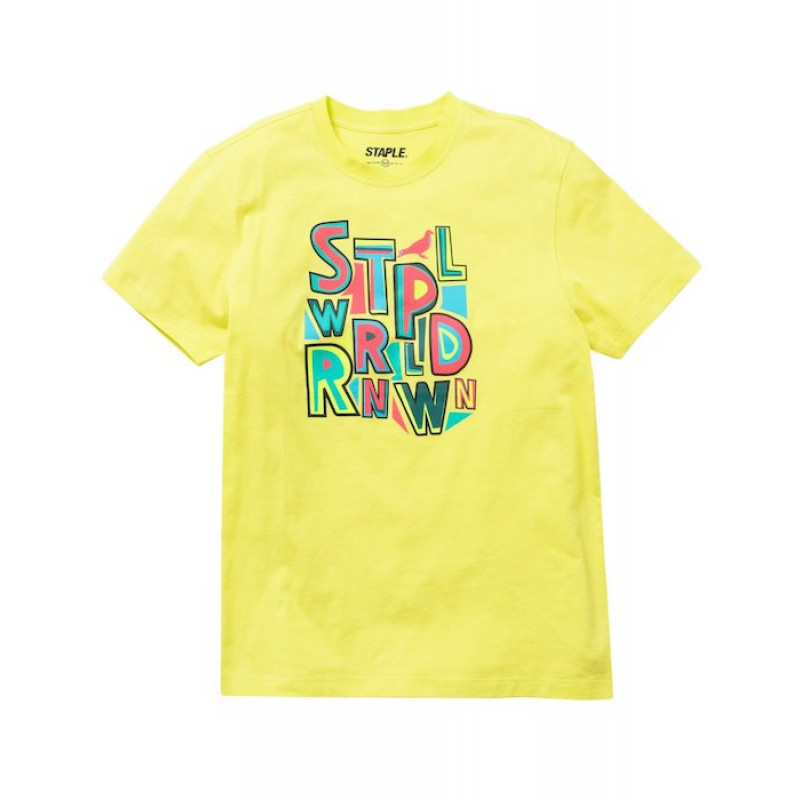 Staple Pigeon -  Letters Graphic Tee Neon Green 1