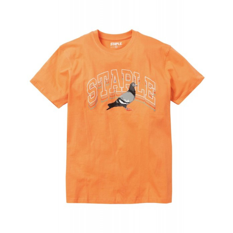 Staple Pigeon - Collegiate Stack Logo Tee Peach 1