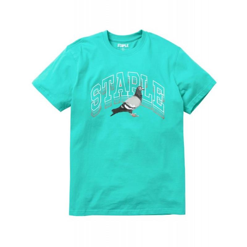 Staple Pigeon - Collegiate Stack Logo Tee Teal 1